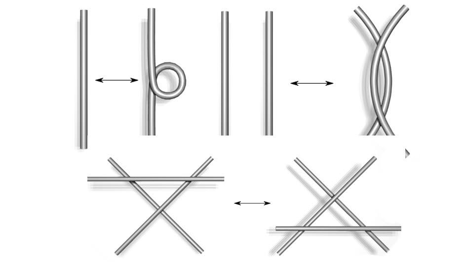 세 가지 유형의 라이데마이스터 변형. 첫 번째 그림의 1종 변형은 한 가닥, 두 번째 그림의 2종 변형은 두 가닥, 세 번째 그림의 3종 변형은 세 가닥의 실이 있을 때의 변형 방법이다. 세 경우 모두 왼쪽의 실을 중간에 자르거나 다시 붙이는 일 없이 적당히 변형시키면 오른쪽의 형태를 얻을 수 있으며 화살표 양쪽의 매듭은 수학적으로 서로 동일하다. (출처 : wikipedia)