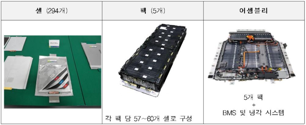 코나 일렉트릭 배터리 셀, 팩, 어셀블리.