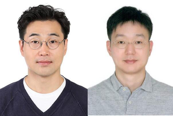 AI를 활용핸 새로운 메모리 소자에 적용할 수 있는 소재 메커니즘을 구현한 최시영 교수(왼쪽)와 이대수 교수