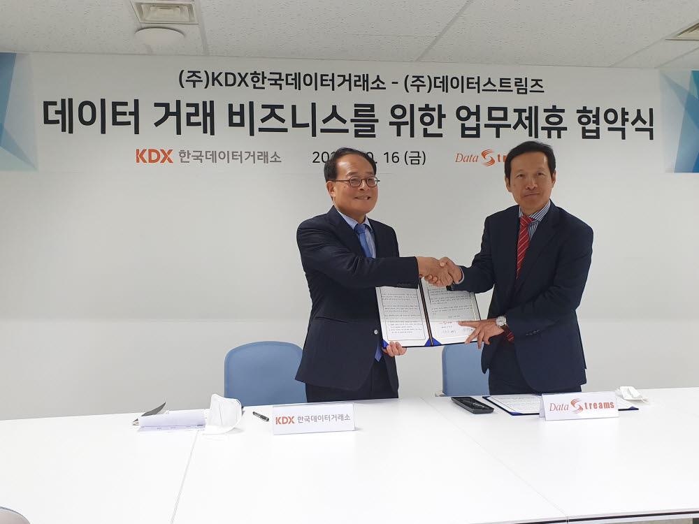 이영상 데이터스트림즈 대표(오른쪽)와 박재현 KDX한국데이터거래소가 업무협약을 맺은 후 기념촬영했다.
