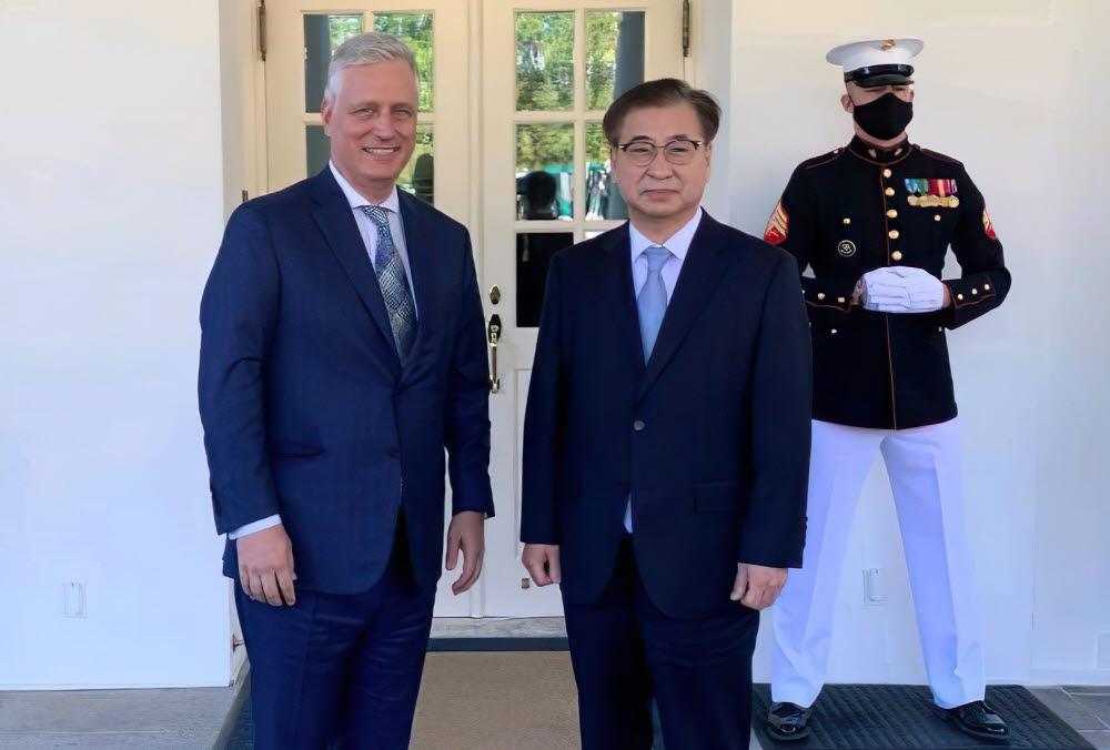 서훈 청와대 국가안보실장이 미국을 방문, 카운터파트인 로버트 오브라이언 백악관 국가안보보좌관을 만났다. 연합뉴스