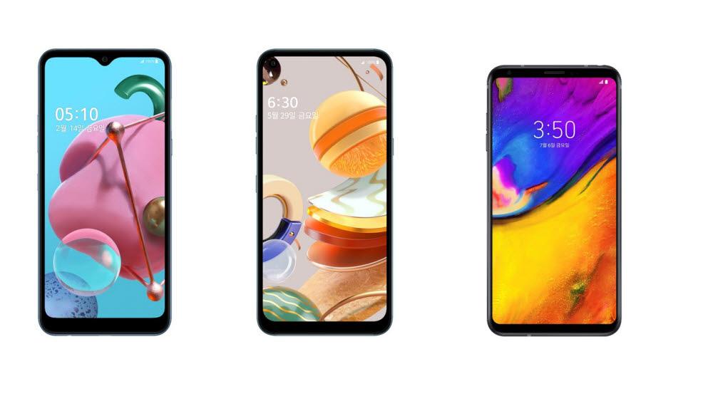 왼쪽부터 LG Q51, LG Q61, LG V35 씽큐