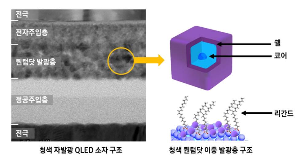삼성전자 청색 자발광 QLED 소자 구조 <사진=삼성전자>