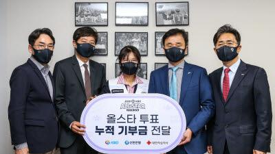신한은행, 올스타 팬투표 적립 기부금 대한적십자에 쾌척