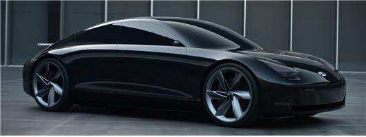 현대자동차 프로페시 전기자동차 컨셉카 외부. 섬유복합재 차체(바디)와 새시 부품, 대시아이솔레이션 패드, 엔진룸 소음단열부품, 타이어코드 등에 섬유가 활용됐다.