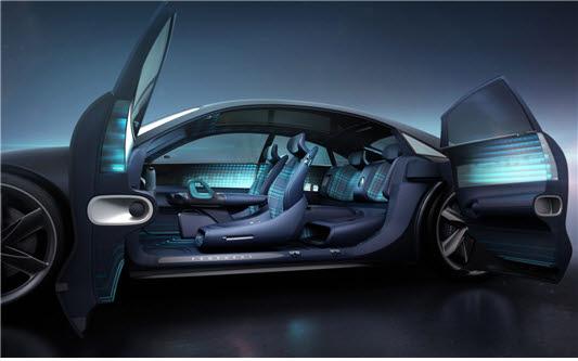 현대자동차 프로페시 전기자동차 컨셉카 내부. 소음진동정숙성(NVH) 제어 부품, 스마트 인테리어, 스마트 카시트, 안전벨트, 에어백 등에 섬유가 활용됐다.
