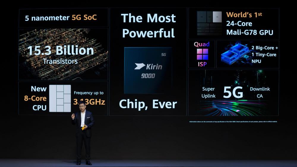 리처드 위 화웨이컨슈머비즈니스 그룹 CEO가 화웨이 메이트 40 시리즈에 탑재된 기린9000 칩셋을 소개했다.