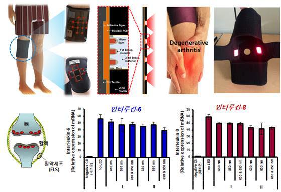 한국광기술원이 개발한 관절 통증 질환 완화에 적용 가능한 웨어러블 케어용 제품 개발 개요(위쪽) 및 염증 완화 효과.