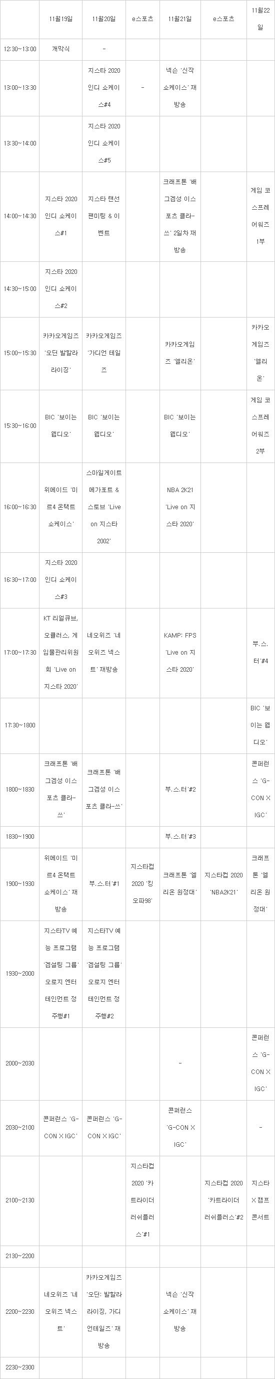 [여기는 지스타 2020]지스타TV 편성표