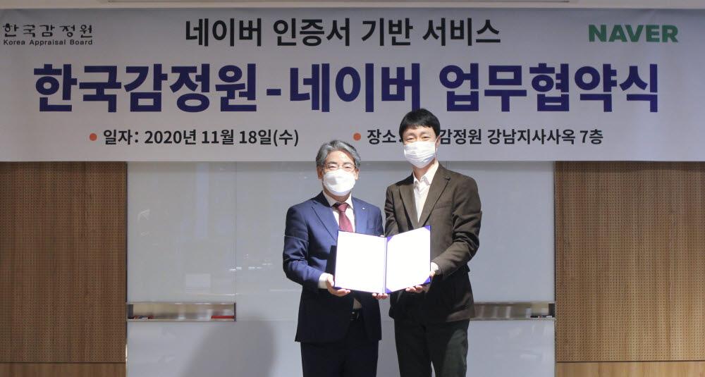 [사진] 한국감정원 한숙렬 부원장(좌)과 네이버 유봉석 서비스운영총괄(우)