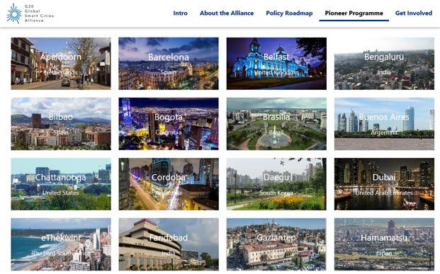 G20 GSCA 홈페이지에 게재된 스마트시티 선정도시 이미지.