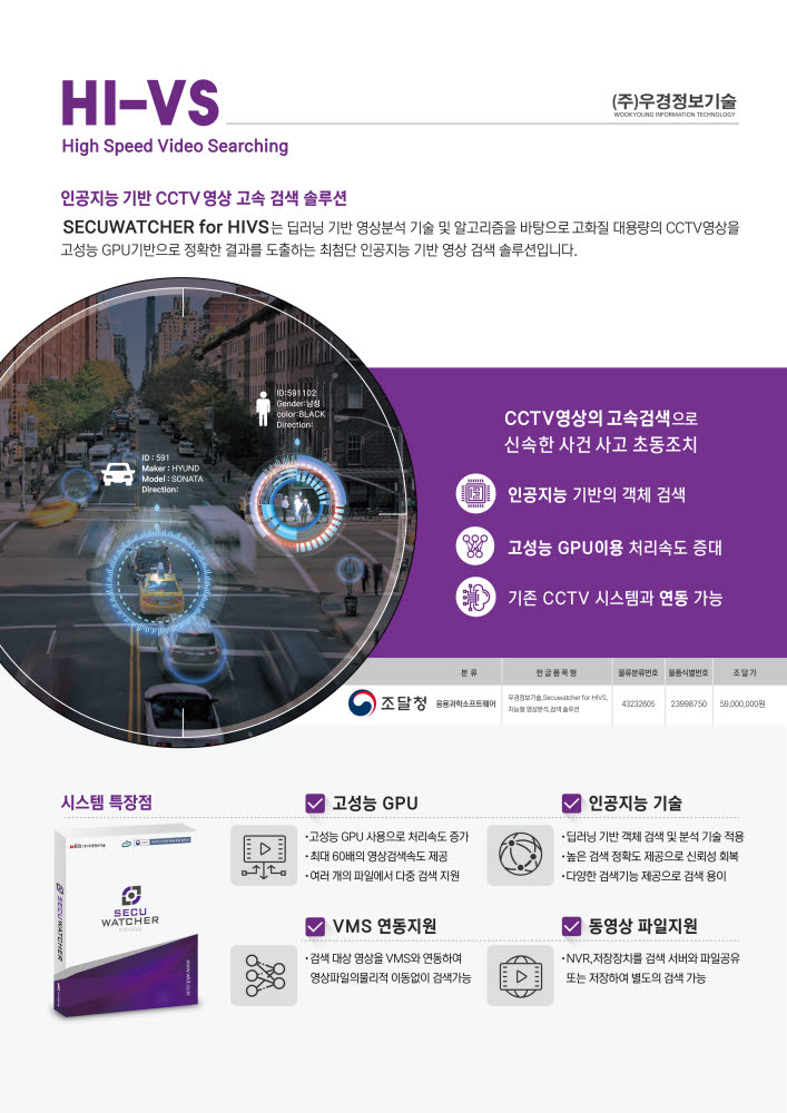 [2020 하반기 인기상품]고객만족-우경정보기술/고속영상검색 솔루션/시큐워처 for Hi-VS