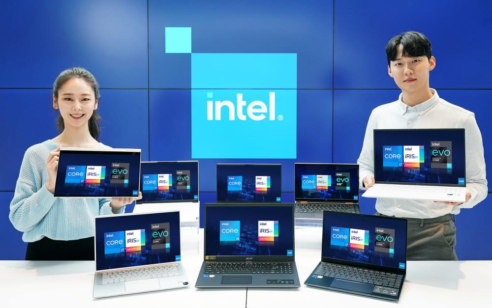 인텔코리아가 11세대 프로세서를 탑재한 삼성, LG, 에이서 노트북들을 선보였다.