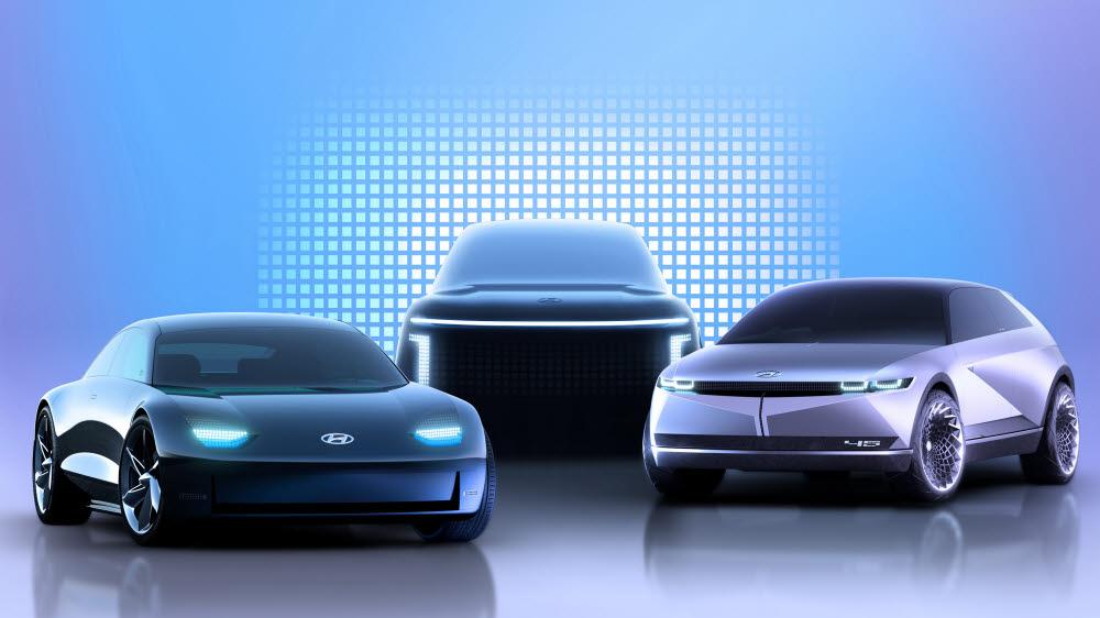 현대차의 아이오닉 라인업 이미지. 아이오닉6(왼쪽부터), 아이오닉7, 아이오닉5.