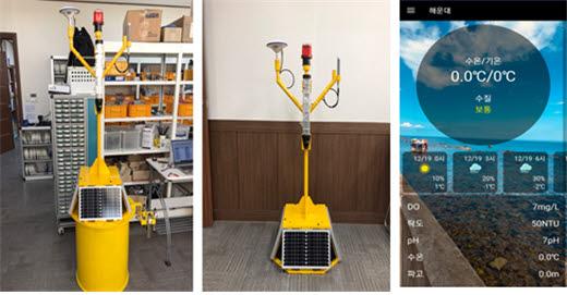 화진기업 컨소시엄이 개발한 실시간 해상정보 수집용 무인해양관측 디바이스 2종(왼쪽)과 서비스 애플리케이션.