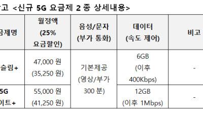 LG유플러스, 4만~5만원대 중저가 5G 요금제 출시