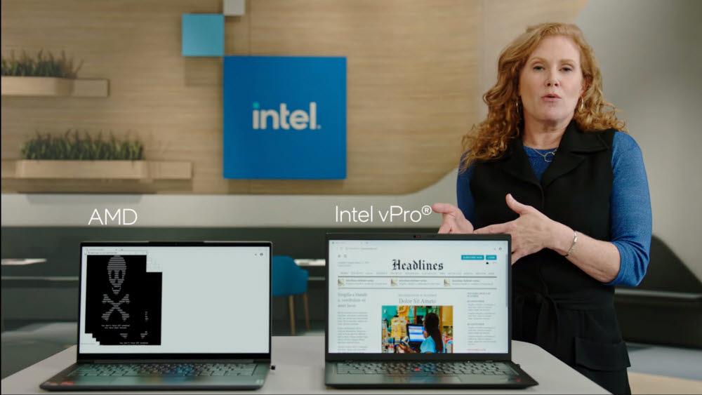 인텔이 v프로 프로세서의 보안성을 설명하면서 AMD 제품과 비교하고 있다.<사진=인텔>