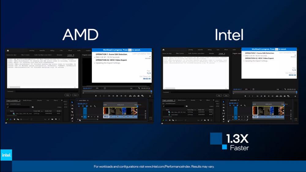 인텔 이보 플랫폼과 AMD 8코어 기반 CPU 비교 자료. <자료=인텔>