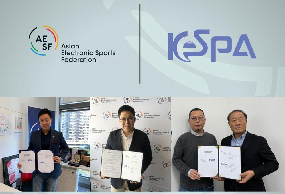 한국e스포츠협회가 지난 12월, 아시아e스포츠연맹(AESF)과 MOU를 체결하고 양 단체간 협력을 통한 아시아 e스포츠의 위상 강화 도모를 약속했다. 왼쪽부터 세바스찬 라우 AESF 사무총장, 케네스 포크 AESF 회장, 김철학 한국e스포츠협회 사무총장, 김영만 한국e스포츠협회 회장