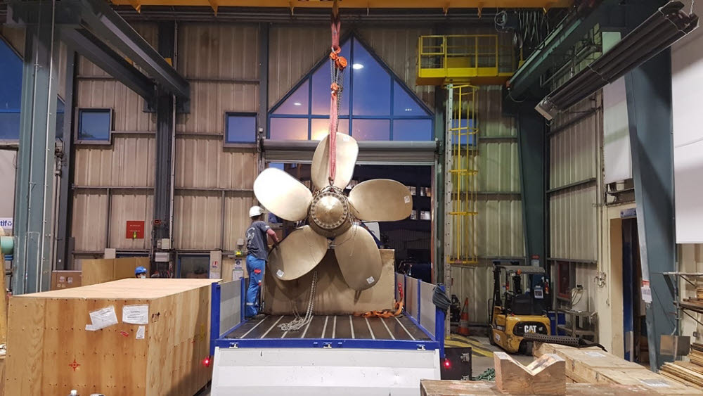 프랑스 방위 산업 회사 나발 그룹이 3D 프린팅 기술로 출력한 프로펠러. <사진=나발그룹>