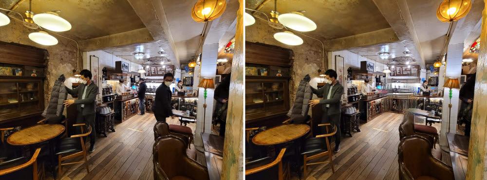 갤럭시S21 객체 지우기 기능 전-후 비교. 사진 속 커피숍 오른쪽과 카운터 앞에 있던 손님을 사진에서 지워봤다.