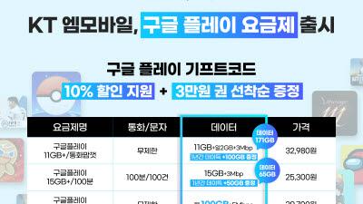 KT엠모바일, 구글 플레이 제휴 요금제 3종 출시