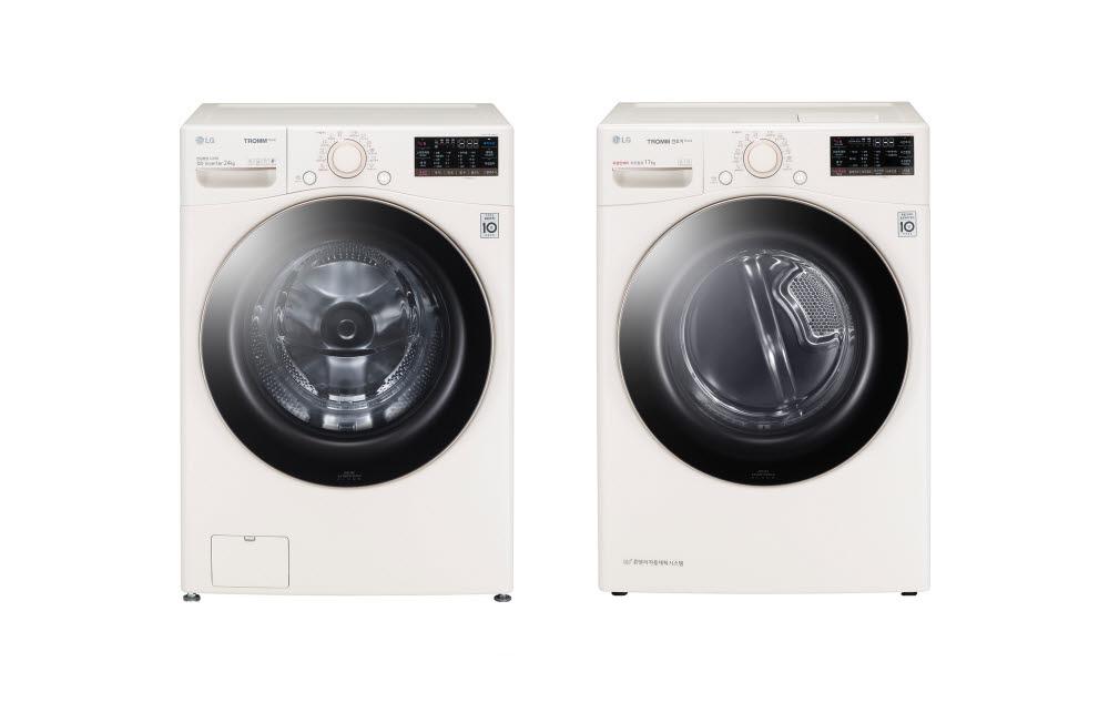 LG 트롬 세탁기 스팀 펫과 LG 트롬 건조기 스팀 펫의 제품사진