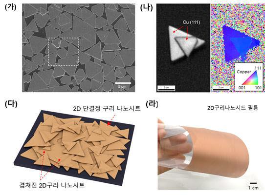 (가) 2D 단결정 구리나노시트의 전자현미경 이미지 (나) 2D 단결정 구시나노시트의 결정면 이미지 (다) 2D 단결정 구리나노시트 필름 모식도 (라) PET필름 위에 만들어진 2D 단결정 구리나노시트 필름 사진.