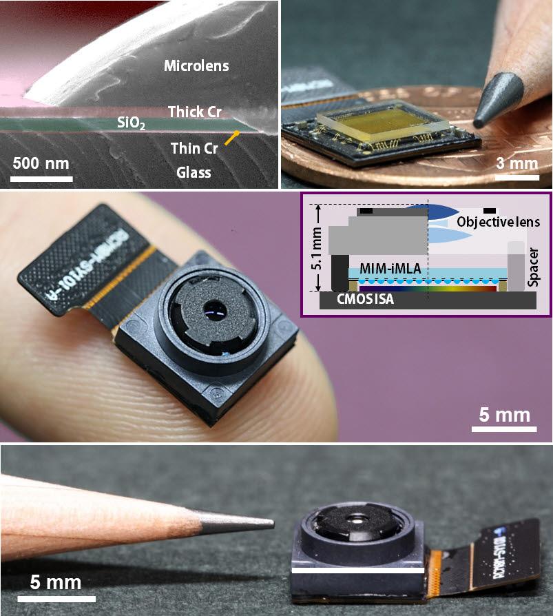 미세렌즈 배열의 단면 현미경영상과 미세배열 렌즈 사진, 최종제작된 라이트필드카메라 사진.