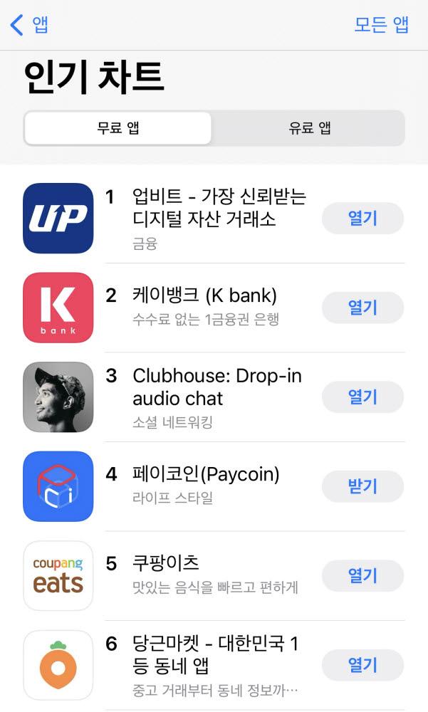 2월 22일 오후 1시 기준 애플 앱스토어 인기 차트 순위. 출처=두나무