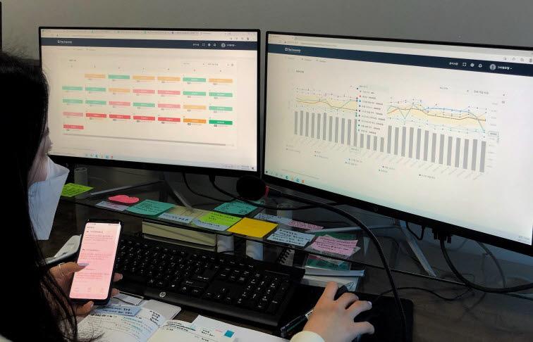 히어로웍스 데이터매니티를 이용한 호텔 객실가 변동 상황 체크 모습.