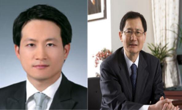 금호석유화학그룹 박철완 상무(왼쪽)와 박찬구 회장. [사진= 금호석유화학 제공]