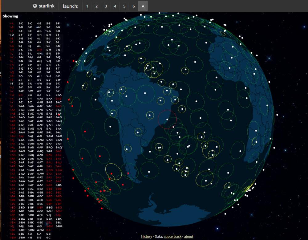 현재 지구 궤도를 돌고 있는 스타링크 인공위성들. 출처: 스페이스X