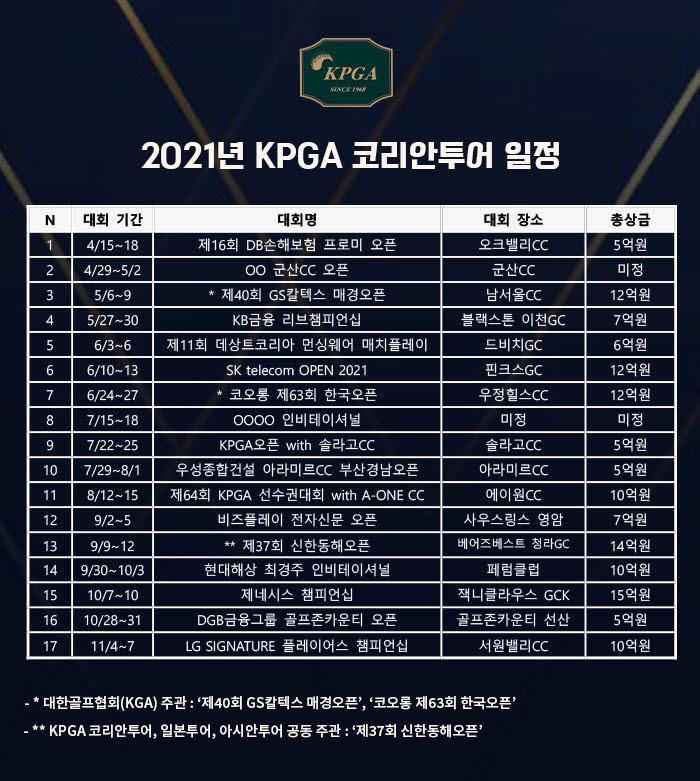 2021시즌 KPGA코리안투어 일정. 사진=KPGA