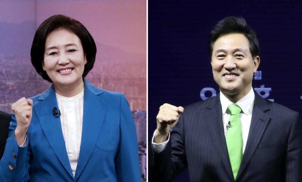 4·7 서울시장 보궐선거 더불어민주당 박영선 후보(왼쪽), 야권 단일후보로 오세훈 후보
