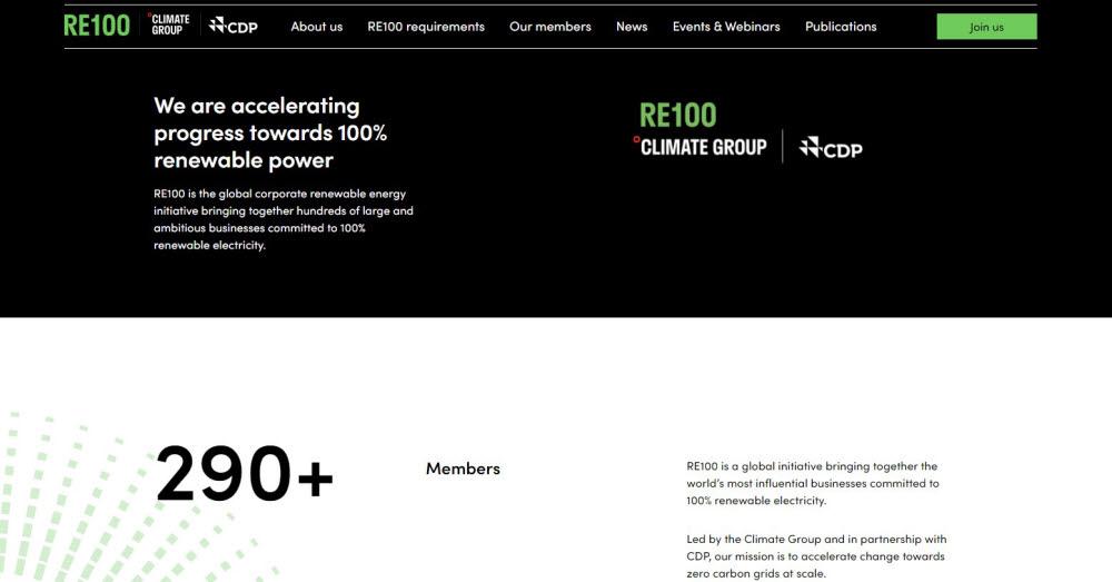 RE100 홈페이지.