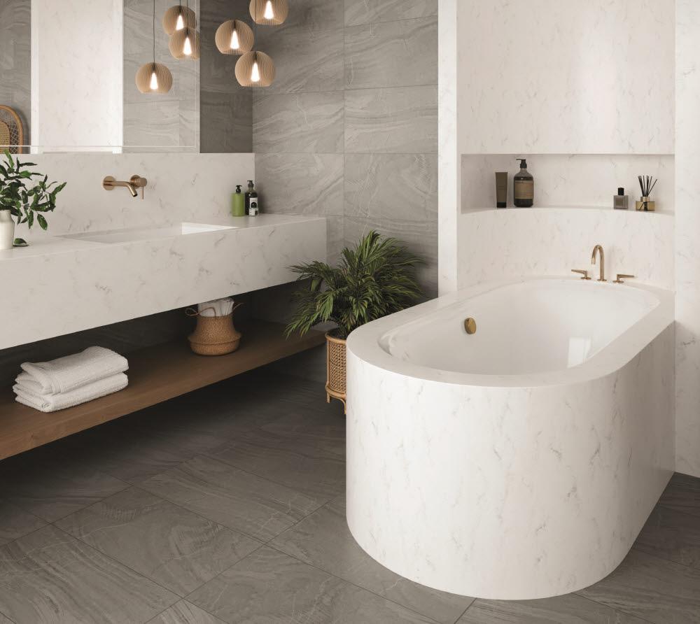 LG하우시스 하이막스 오로라 에크루가 적용된 욕실공간 모습<사진=LG하우시스>