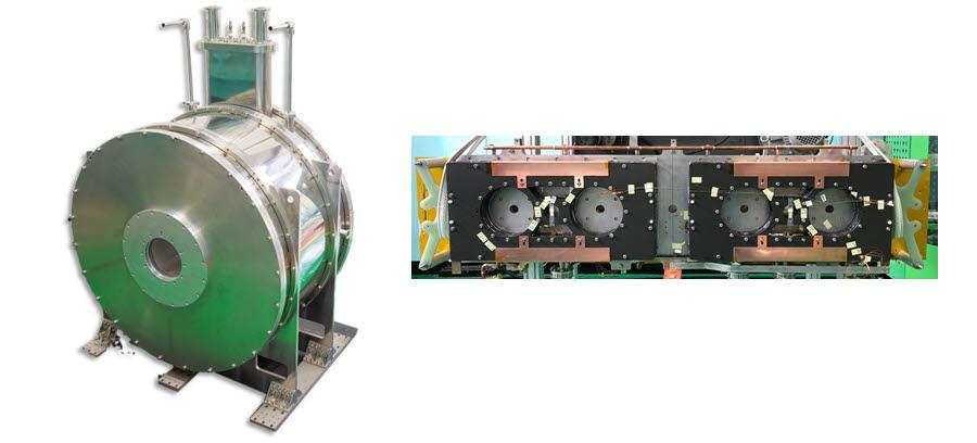 수퍼제닉스가 개발한 입자가속기용 고온 초전도 전자석(왼쪽)과 초고속 자기부상열차용 고온 초전도 전자석.