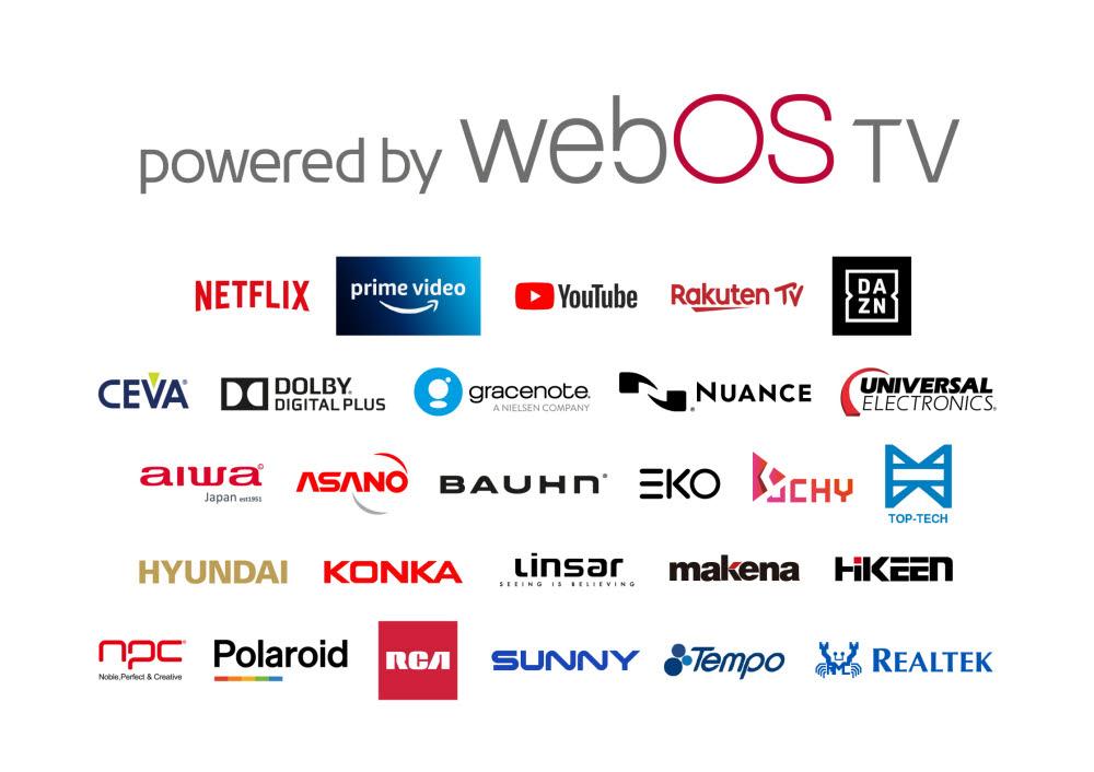LG전자의 웹OS 관련 콘텐츠, 솔루션, 제조 협력사 로고