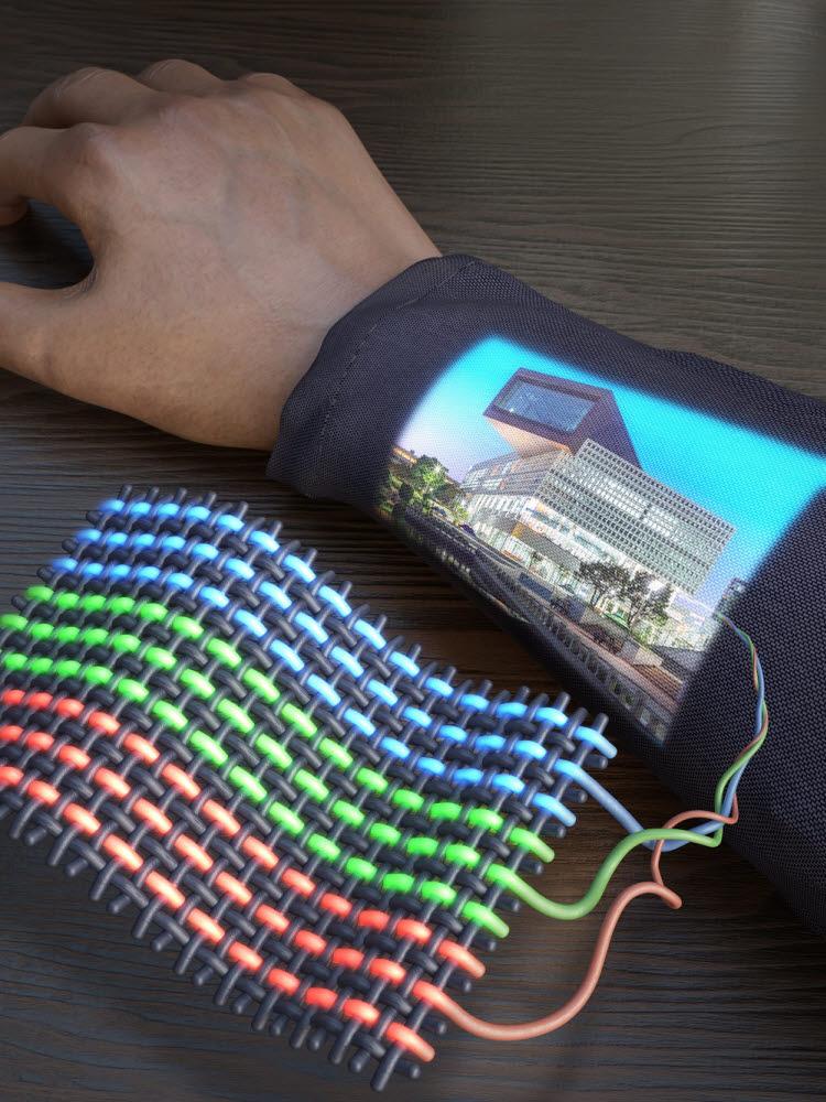 KAIST가 개발한 OLED 전자 섬유 디스플레이 개념도