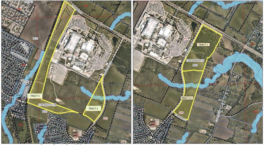 삼성이 용도 변경을 신청한 지역. 흰색 건물이 오스틴 팹과 시설동들이고 노란색 선으로 표시된 부분이 새로 신청한 지역이다.<출처: 오스틴 시정부 문서>