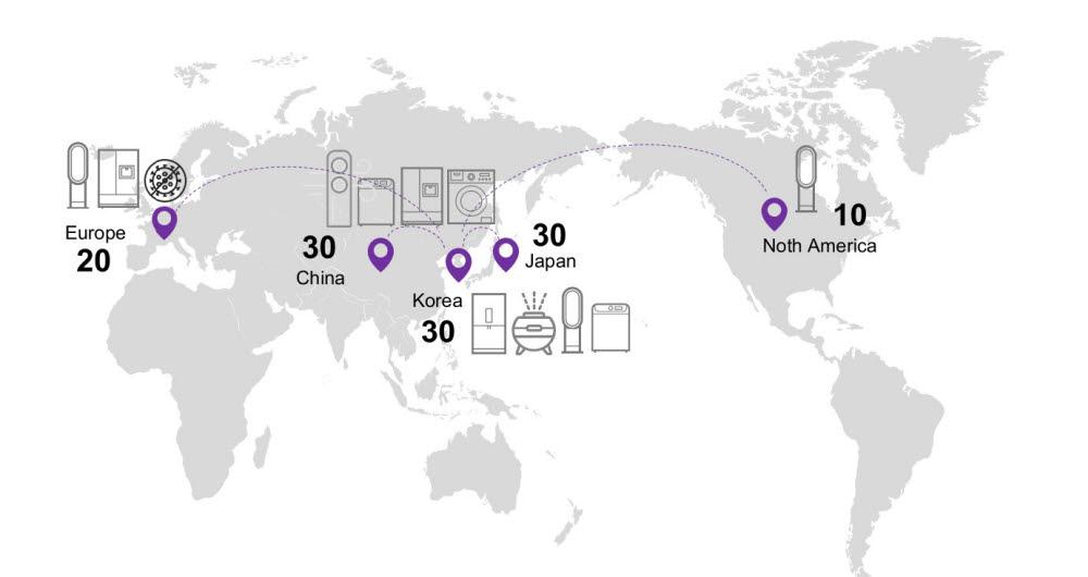 서울바이오시스 기술이 적용된 지역별 모델수.