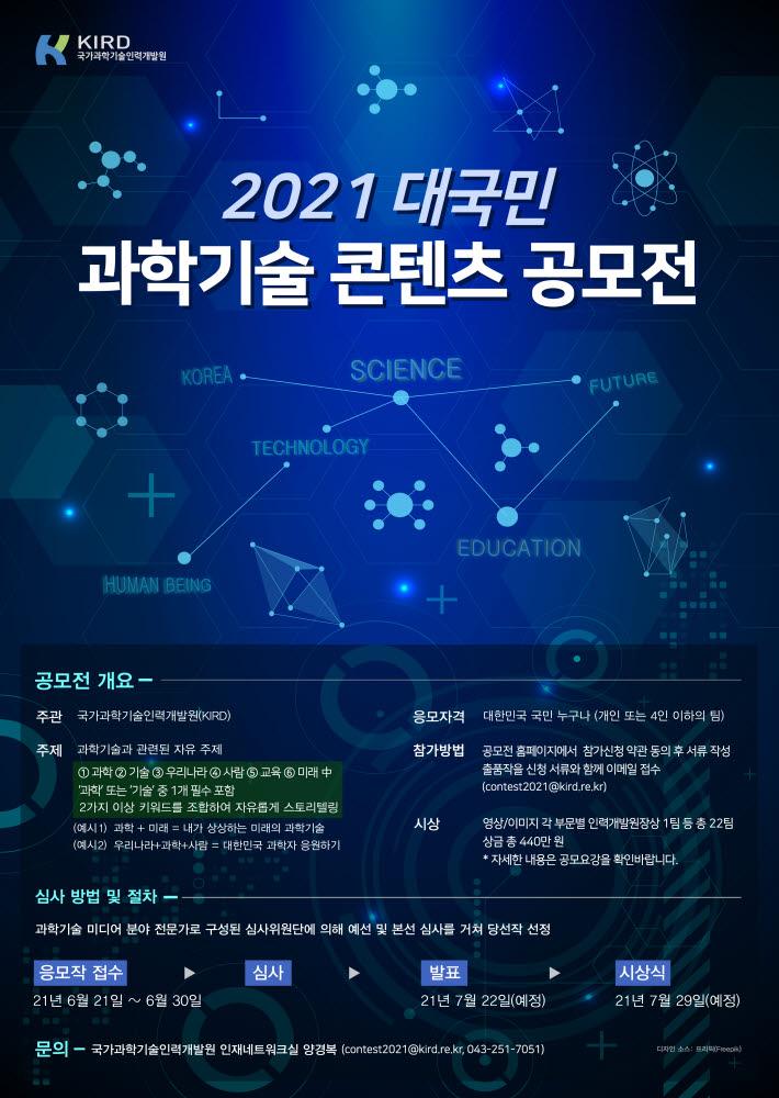 2021 대국민 과학기술 콘텐츠 공모전 안내 포스터