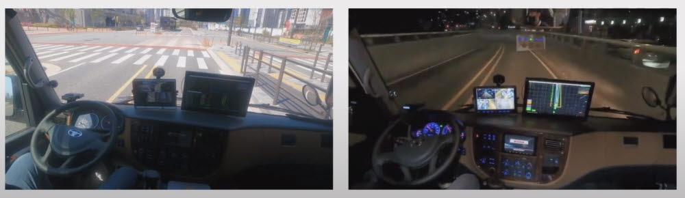 오토노머스에이투지가 세종시 가선급행버스체계(BRT) 노선에서 15인승 자율주행 셔틀 미니버스를 운행하는 주·야간 장면.