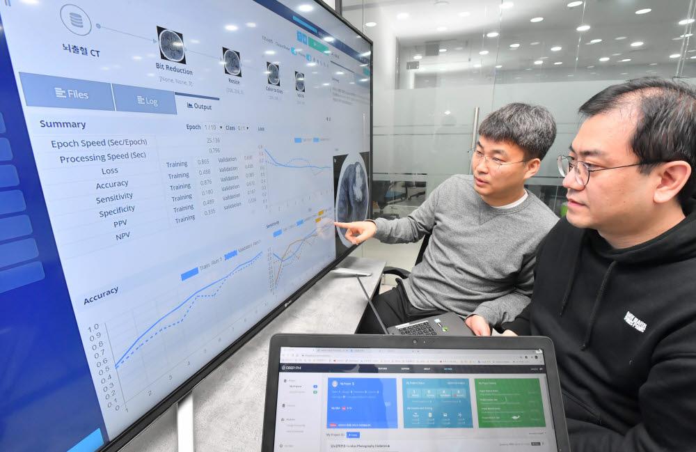 서울 구로구 딥노이드에서 개발팀이 딥파이 플랫폼을 이용한 의료 인공지능 모델링을 시연하고 있다. 딥파이는 프로그래밍을 모르더라도 의료 인공지능(AI) 연구를 웹브라우저 상에서 쉽게 할 수 있는 플랫폼이다. 박지호기자 jihopress@etnews.com
