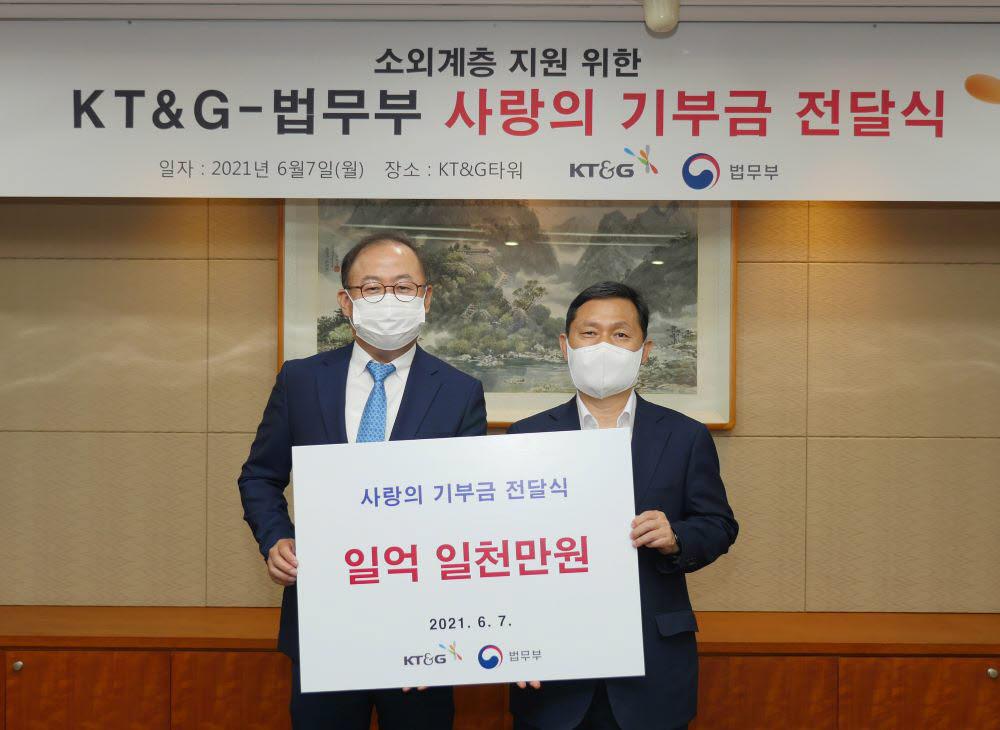 이상학 KT&G 지속경영본부장(왼쪽)과 강호성 법무부 범죄예방정책국장.