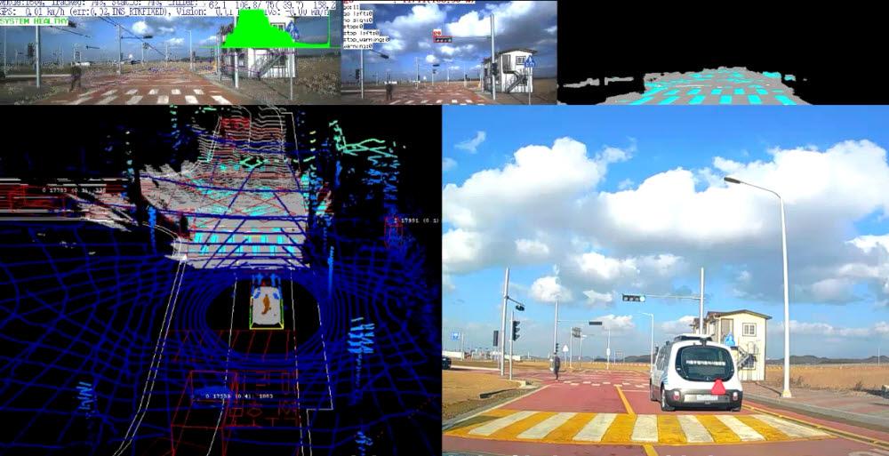 ETRI 연구진이 개발한 자율주행 셔틀버스 오토비 가 실시간으로 주행 상황 정보를 인식하는 모습