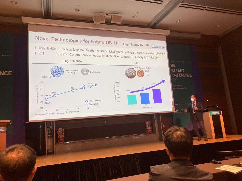 장혁 삼성SDI 연구소장이 인터배터리2021에서 발표하고 있다.