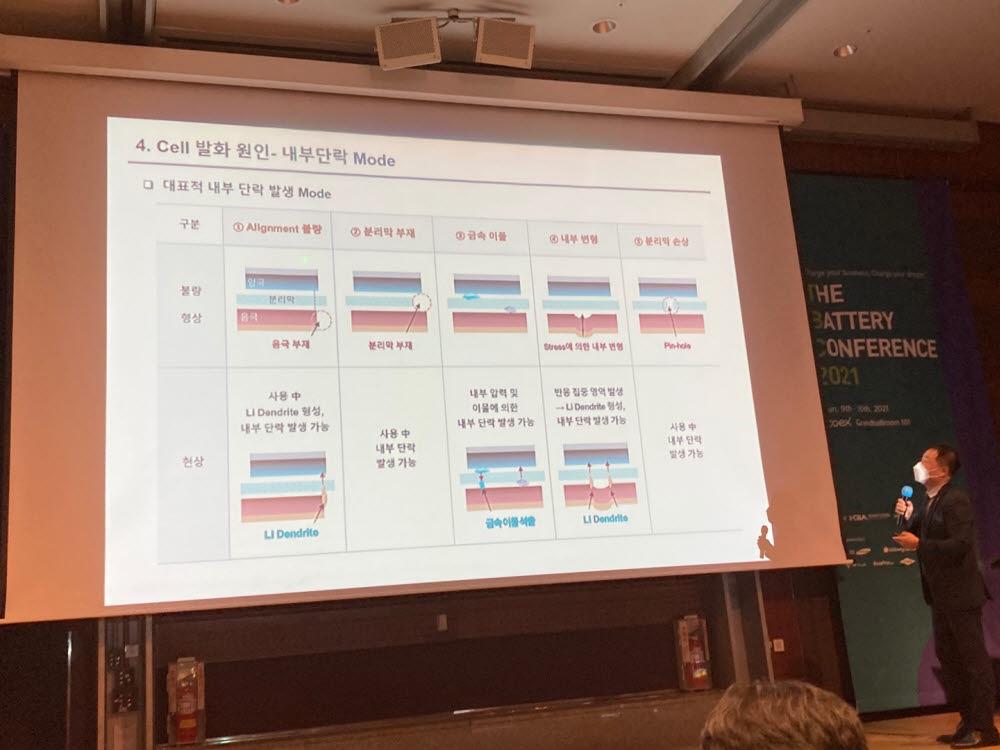 이존하 SK이노베이션 센터장이 인터베터리2021에서 발표하고 있다.