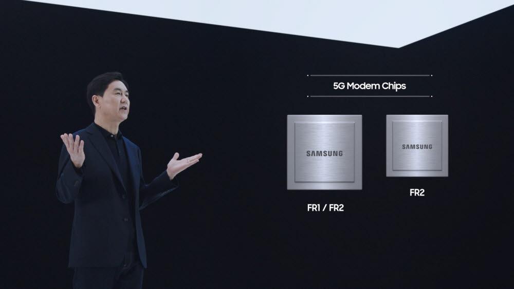 전경훈 사장이 2022년 출시하는 고성능 기지국에 탑재되는 차세대 핵심칩을 소개하는 모습